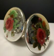 Antique Pair Mercury Glass Curtain Tie Backs Knobs Hand Painted Flowers
