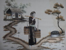 Superbe broderie soie Chine porteuse d'eau 62cm Old chinese embroidery silk XIX
