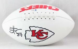 Travis Kelce Autographed KC Chiefs Logo Football- Beckett W *Blk *Red Letters