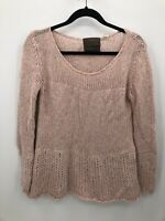 Guinevere Acrylic/Wool Light Pink Womens Knitted Sweater Long Sleeve Size S