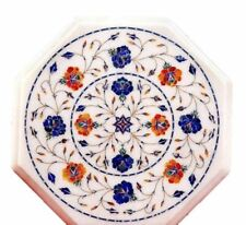 """18"""" white marble table top coffee center tea mosaic inlay room decor"""