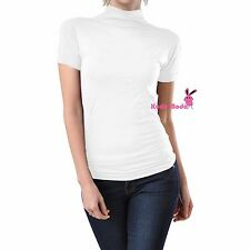 Women Seamless Stretch Short Sleeve Mock Neck Turtleneck Blouse Top Tee Shirt