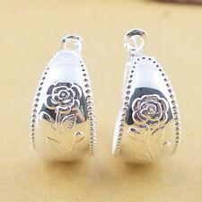 Women Fashion 925 Silver Flower Dangle Drop Hoop Earrings Wedding Jewelry New