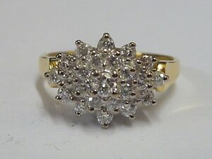 Ladies 18ct Gold 52pt Diamond Boat Shaped Cluster Ring - Size O + Appraisal