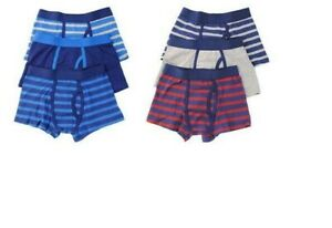 3/6X Kids Boys Striped & Plain Cotton Assorted Boxer Shorts Trunks 5-14 Years