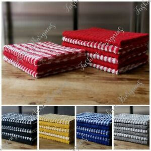15x Terry 100% Cotton Tea Towels Kitchen Cleaning Dish Cloths Drying Packs