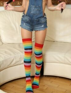 Rainbow Striped Thigh Highs Socks Warm Winter One Size Fits Most 90-165 lbs (C22