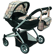 Babyboo Deluxe Twin Doll Pram/Stroller Beige Plaid & Black w/ Free Carriage Bag