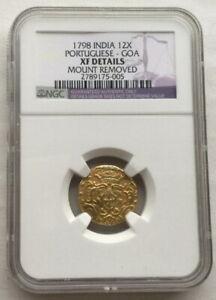 Portuguese India Goa 1798 Maria I 12 Xerafins NGC Gold Coin,Rare!