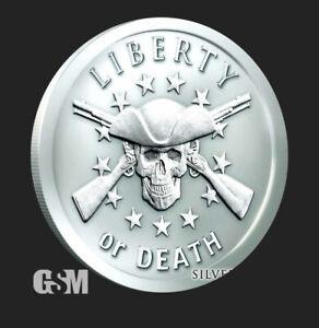 1 oz .999 Silver Shield Liberty or Death 2nd amendment guns crossed skull 2021