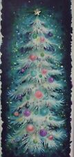 Vintage Christmas Card Blue Christmas Tree Pink Ornaments Applied Star Glitter