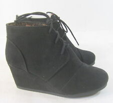 "new Blacks   2.5"" high wedge heel LACE UP round toe SEXY ankle boot  Size  7.5"