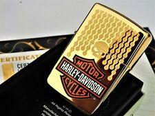 24Ct Gold Plated Zippo Petrol Refillable Harley Davidson Skull Lighter Boxed 24K