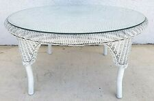 (1) Vtg LLOYD LOOM Flanders Wicker Weather Resistant Cocktail Table With Glass