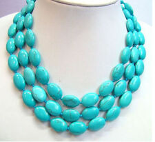 New 13x18mm Blue Turquoise Turkey Oval Gemstone Necklace 48 Inch