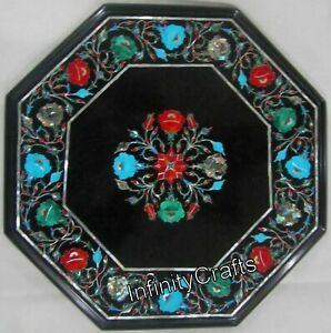15 Inches Decent Look Marble Coffee Table Top Floral Design inlaid Island Table