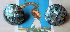 *Huge New Zealand Paua Shell Mosaic Round Post Earrings