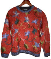 Icelandic Design (Wool Mohair Red/Blue) Pullover Women's Sweater Size Small
