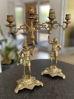 Antique Brass Candelabra Pair Candlesticks Vintage Gothic Tudor Style 2 Holders