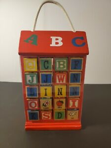 VINTAGE WOOD 40 MULTISIDE ALPHABET BLOCKS SCHYLLING WOOD BOX SLIDING COVERS