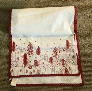 Pottery Barn Village Table Runner White Red 108L Embroidered Christmas Holiday