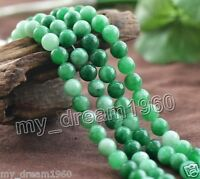 "Genuine Natural 8mm Green Jadeite Round Gemstone Loose Beads Strand 15"" AA"