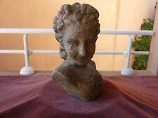tres ancienne terre cuite, buste de femme pour parc de chateau,19ème