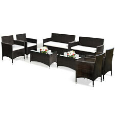 8 PCS Patio Rattan Conversation Set Outdoor Furniture Set Table & Cushioned Seat