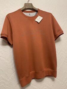 £550 BRUNELLO CUCINELLI Men's short-sleeve printed front sweatshirt  BNWT