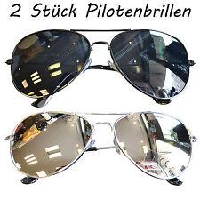 2 Stück Sonnenbrillen Pilotenbrille Damen Herren Pornobrille Brillen Verspiegelt