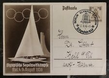 1936 Berlin Germany Postcard PS Cover Olympic Games Sailing Events To Kehl