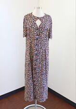 Vtg Leslie Fay Floral Print Keyhole Midi Shirt Dress Size 16 Boho Casual Blue