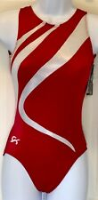 GK RED NY/SPAN ADULT X-SMALL WHITE OPAL GYMNASTICS DANCE TANK LEOTARD AXS NWT!