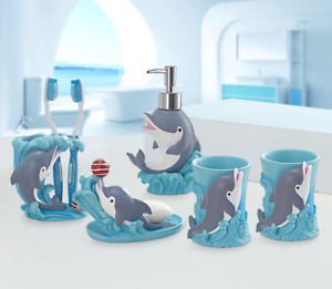 5pcs Lovely Blue Dolphins Bathroom accessory set Resin Soap dish Dispenser Gifts