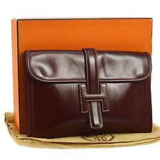 Auth HERMES JIGE PM H Logos Clutch Hand Bag Bordeaux Box Calf Vintage A33052