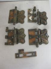 3 Vintage COPPER Black DOOR HINGES Decorative + lock plate
