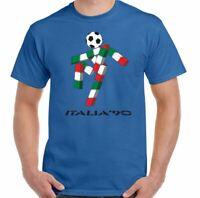 Italia 90 T-Shirt Mens Retro 1990 World Cup Football Retro Logo Kit Italy Top