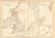 1859  LARGE ANTIQUE MAP - WELLER-THE BRITISH ISLANDS AND THE NORTH SEA, ORKNEY