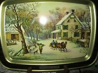 Vintage Currier and Ives 'American Homestead Winter' Tin Serving Tray Christmas