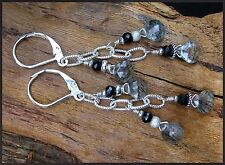 *PI*BLACK needle RUTILATED QUARTZ Spinel Hill Tribe Silver .925 Long Leverbacks!