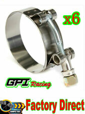"""6x 2.5"""" 63mm Turbo Pipe Hose Coupler T-bolt Clamps Stainless Steel 67-75mm"""