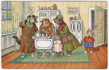 Cats, Cat Family and Newborn Cat Baby in the House, Funny Old Postcard