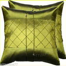 2 Thai Silk Decorative Cushion Pillow Cover Sofa Living Room Green 16x16 Inches