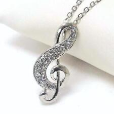 G4 Music Clef Treble Crystal NECKLACE Silver Tone Chain NEW
