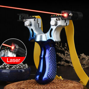 Slingshot Catapult Laser Sight Free Spare Band & 200 Mud Ball Ammo - 4 Colors