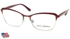 NEW D&G Dolce & Gabbana DG 1286 1303 BORDEAUX /SILVER EYEGLASSES 53-16-140 Italy