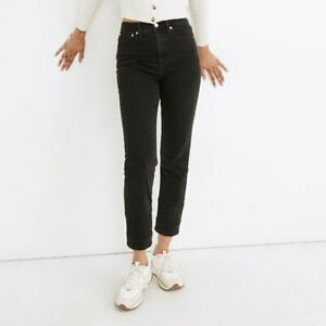 NWT - Madewell Classic Straight Jeans Lunar Wash J2054 - Black High Rise Size 34