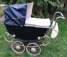 LANDAU ancien 1940, 2 bébés suspension capote pliante sellerie artisanale France