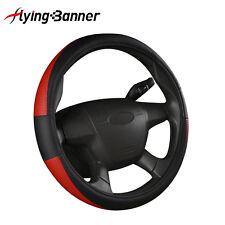 Universal Steering Wheel Cover Leather Look Black Red Antislip Covers Protectors
