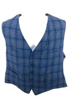 Faconnable Blue Plaid Casual Business Linen Button Up Vest Men's XL Regular